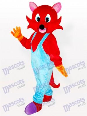 Zorro rojo con un mono azul Disfraz de mascota