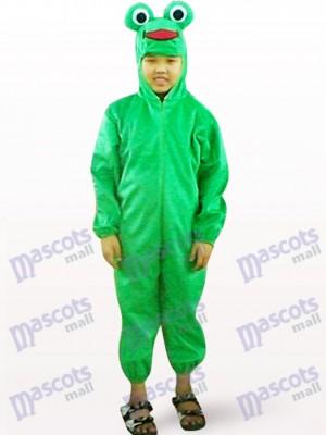 Niños de cara abierta de rana verde Disfraz de mascota