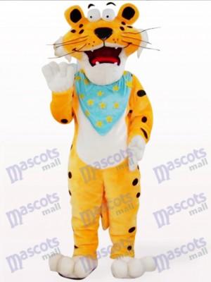 Leopardo naranja con bufanda azul Disfraz de mascota Animal