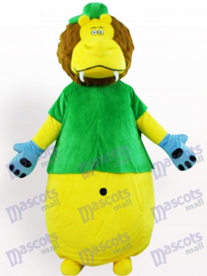 León amarillo en ropa verde Disfraz de mascota Animal