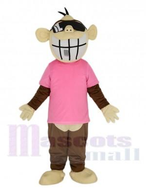 Gracioso Mono marrón en Camiseta de color rosa Disfraz de mascota Animal