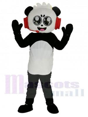 Panda combo con Auriculares rojos de Mundo de Ryan Disfraz de mascota Dibujos animados
