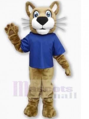 Gato montés amistoso Disfraz de mascota animal en camiseta azul