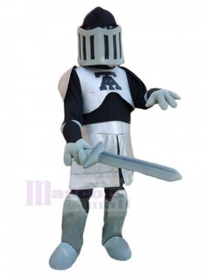 Plata y negro Caballero con espada Disfraz de mascota personas