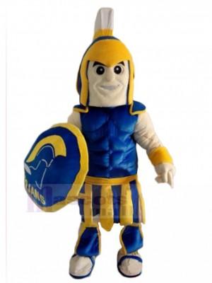 Azul y amarillo espartano Troyano Caballero Disfraz de mascota Personas
