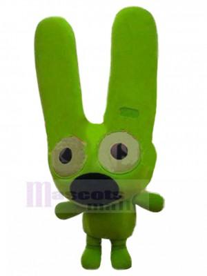 Perro verde neón Disfraz de mascota con animal de orejas largas