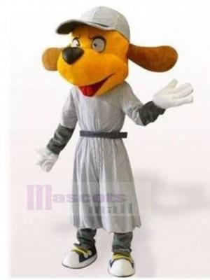 Perro naranja feliz Disfraz de mascota en vestido gris Animal