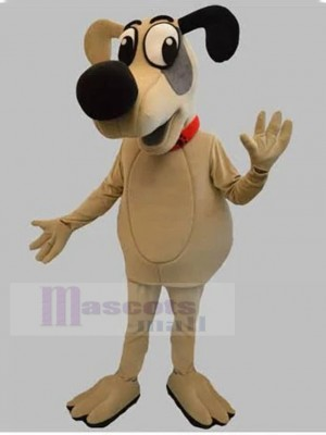 Perro de dibujos animados beige Disfraz de mascota con animal de nariz negra grande