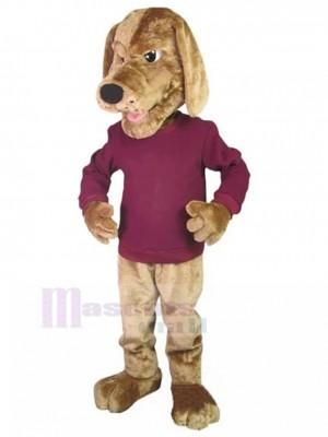 Perro puntero dorado serio Disfraz de mascota Animal en camisa roja rosa oscura