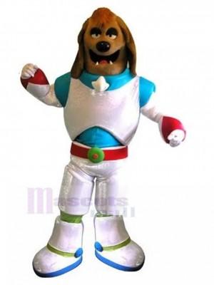 Perro marrón Disfraz de mascota Animal con traje espacial blanco