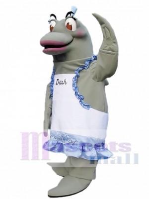 Cute Grey Dolphin Chef a la derecha Disfraz de mascota