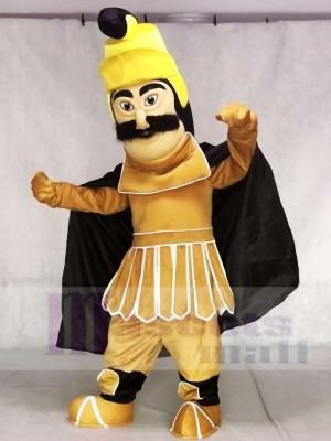 Guerrero troyano con capa negra Disfraz de mascota