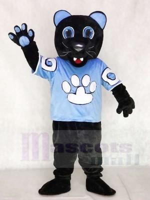 Pantera negra carolina en camiseta azul Disfraz de mascota animal