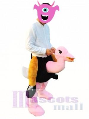 Avestruz rosa a cuestas Disfraz de mascota