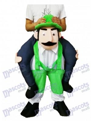 A cuestas Tío barbudo Carry Me Ride Mono Verde Hombre Disfraz de mascota