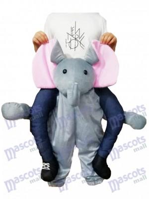 A cuestas Elefante Carry Me Ride elefante gris Disfraz de mascota