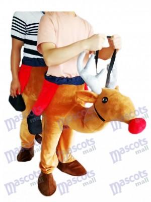 Llévame Montar Rudolph de nariz roja Reno a cuestas Disfraz de mascota