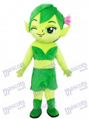 Mago Elfo Verde con Flor Disfraz de mascota Dibujos animados