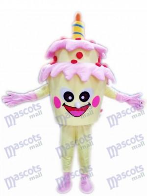 Pastel de cumpleaños de dos capas con vela Disfraz de mascota Postre de comida