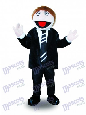 Hombre de traje negro Disfraz de mascota Personas