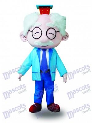 Abrigo Azul Gafas Anciano Disfraz de mascota