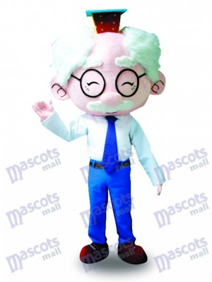 Traje Blanco Gafas Anciano Disfraz de mascota