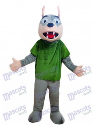 Lobo gris con camisa verde Disfraz de mascota animal