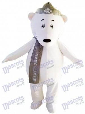Oso polar con sombrero gris y bufanda Disfraz de mascota animal
