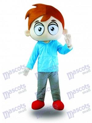 Chico Camisa Azul Ojos Grandes Disfraz de mascota