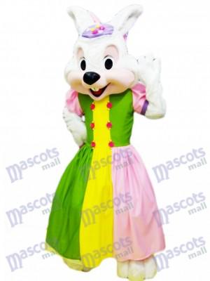 Conejito de Pascua en vestido colorido Disfraz de mascota Dibujos animados