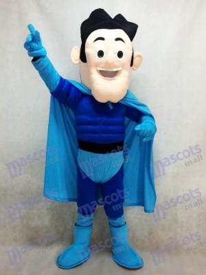 Superhéroe con capa azul Disfraz de mascota