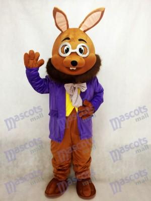 Conejito de Pascua marrón con esmoquin morado Disfraz de mascota animal