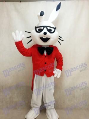 Conejito de Pascua blanco con abrigo rojo Disfraz de mascota