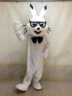 Conejito de Pascua blanco con gafas Disfraz de mascota