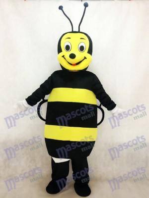 Abeja negra y amarilla sonriente Disfraz de mascota
