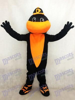 Pájaro de béisbol negro y naranja Orioles de Baltimore Disfraz de mascota