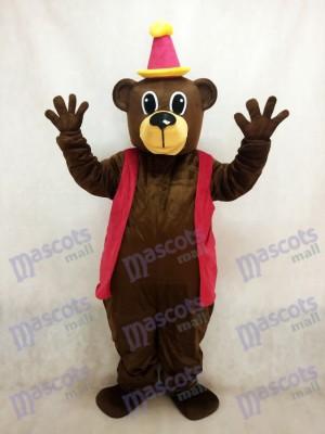 Oso de cumpleaños marrón con chaleco y sombrero Disfraz de mascota
