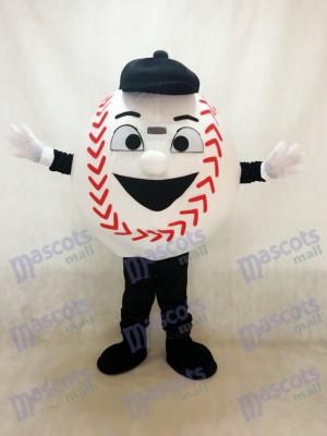 Béisbol blanco con sombrero negro Disfraz de mascota