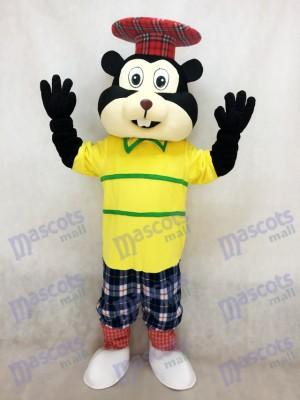 Gopher golfista en camisa amarilla Disfraz de mascota