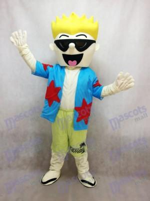 Chico Cool Gafas de Sol en Camisa Azul Disfraz de mascota personas