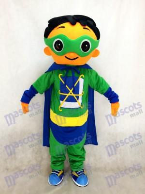 Super Por qué Superhéroe con capa verde Disfraz de mascota