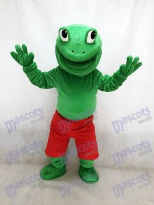 Rana verde con pantalones cortos rojos Disfraz de mascota animal