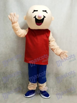 Chico cabeza redonda en chaleco rojo Disfraz de mascota
