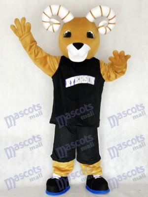 Equipo deportivo Ram Ryerson en chaleco negro Disfraz de mascota animal