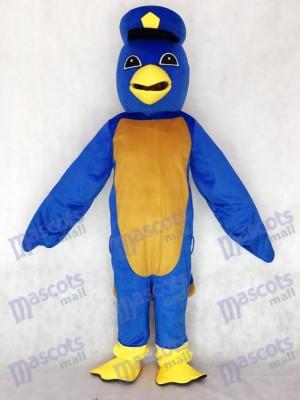 Lindo pájaro azul con gorro de capitán patito Disfraz de mascota animal