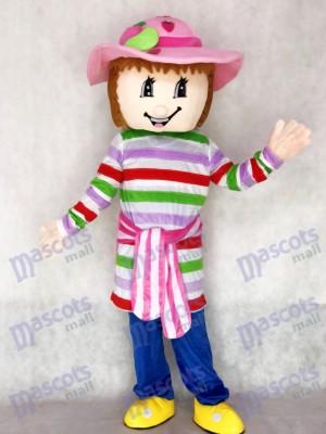 Chica encantadora de tarta de fresa colorida Disfraz de mascota Dibujos animados