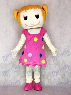 Chica de pelo liso en vestido rosa Disfraz de mascota