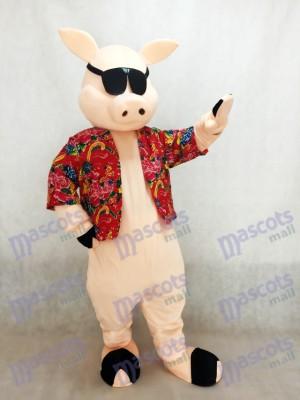 Cerdo lechón con camisa y gafas de sol Disfraz de mascota animal