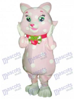 Gatito rosa con manchas blancas Disfraz de mascota Dibujos animados