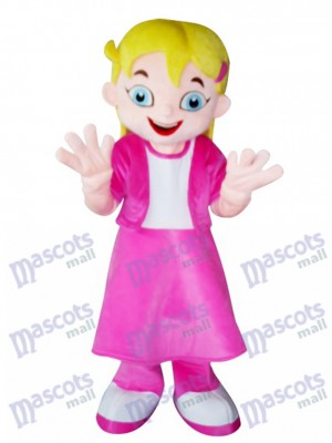 Chica de pelo amarillo en vestido rosa Disfraz de mascota